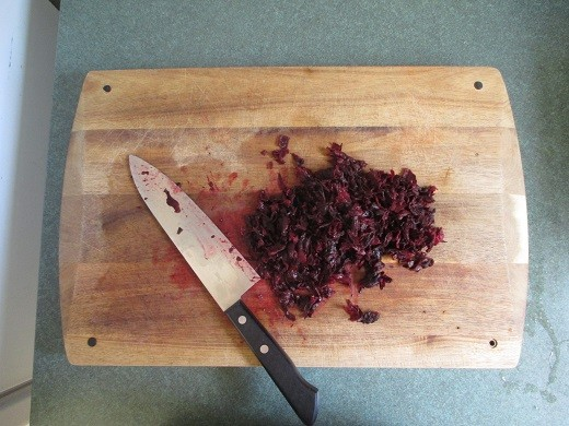 Chopped hibiscus flowers