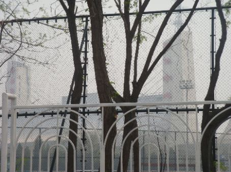 National Gymnasium, obscured by the fence and the haze