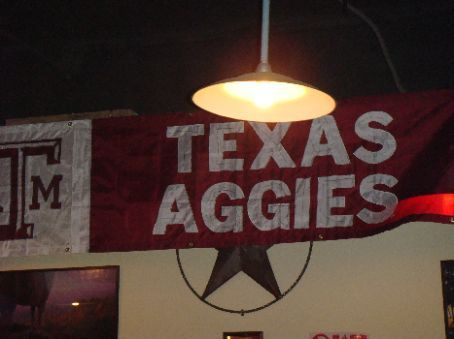 Upstairs room decorated with Aggie stuff