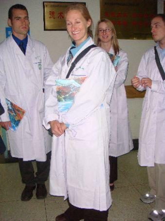 Anna in her white coat