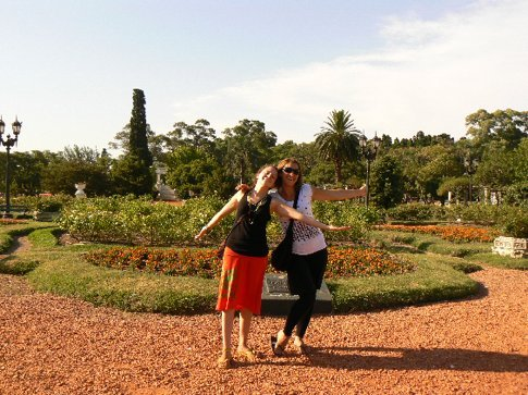 MT and Romina in gardens of Buenos Aires