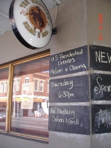 A pub advertising US presidential debates in New Market, a trendy little area just outside of Auckland