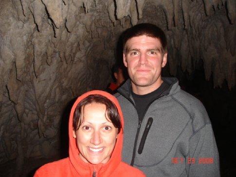Erin & Pete, spelunking.