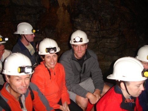 On our raft, entering the glow worm cave.