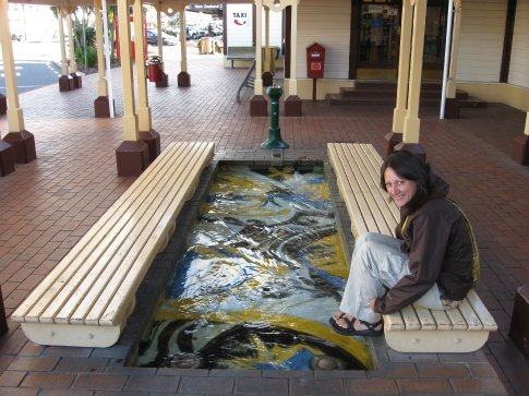 This is Rotorua, where little pools are everywhere, warmed by thermal heat.  This is the bus station.
