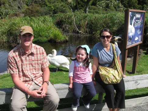 Pete, Megan, Erin with the swans.
