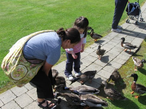 Erin and Megan feeding the ducks.
