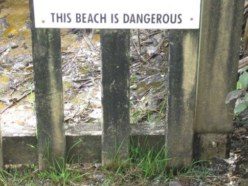 After reading this sign we hopped the fence and built a sand castle.
