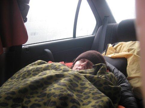 Sleeping in the car in Arthur's Pass