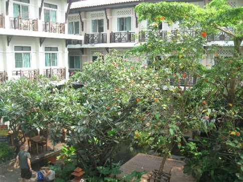 The view from our balcony at the Rambuttri Village Inn