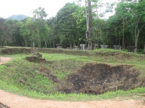 A crater where a bomb just missed the temples