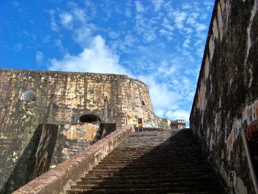 Main stairway from the militia bunkers to the sentry watch tower and cannon floor. El Morro, San Juan, Puerto Rico.