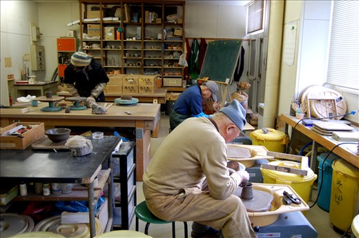 This is the room where I did pottery lessons for a year with Yoshida-san. Normally just him and I, it occasionally fills with other potters.
