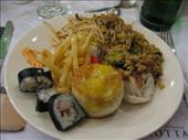 Plate 2- Sushi, french fries, fried rice, lo mein, paella, and a fried egg: by escape_artist, Views[568]