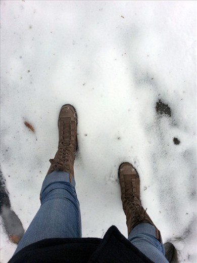 You lose to the cold and put on your boots.  Winter has taken over, and all you see is layers over layers of white.  You continue your trek through the seasons and enjoy the mist that forms as you breathe out.