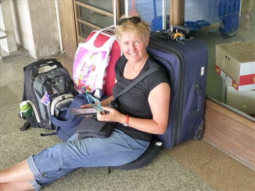 Looking like a backpacker - Sue E note the pillow (very handy)