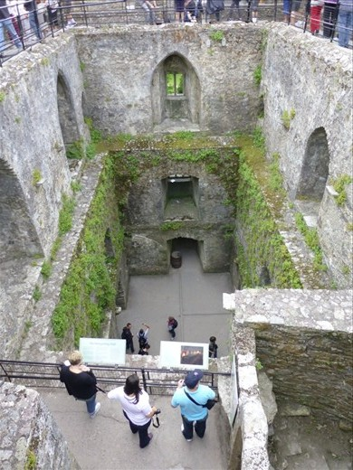 Looking into Blarney Castle - the stone kissing is happening at the top opposite