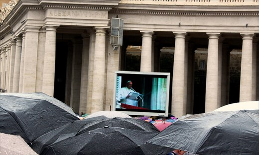 Sunday liturgy in rainy Vatican.