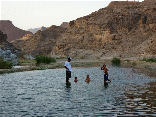 This Omani family is getting a refreshment from the 47°C in one of the many Wadis.