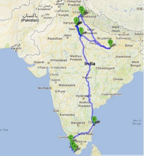 Rota percorrida na India