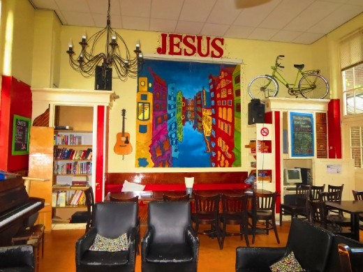 The Cafe in the hostel that I work. Remember, this is right on the edge of the Red light District,