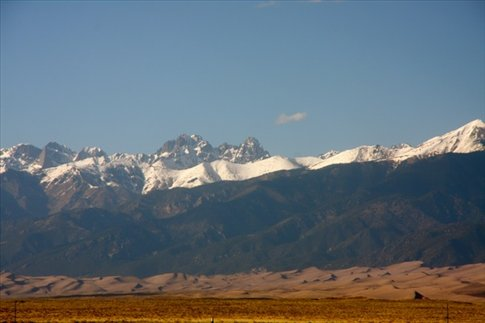 Snow capped mountains and Sand DunesZapata Ranch