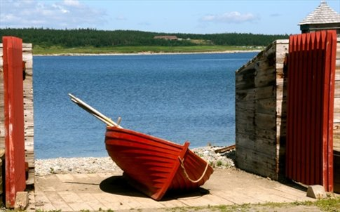 Boat at the wharf, Louisbourg, NS