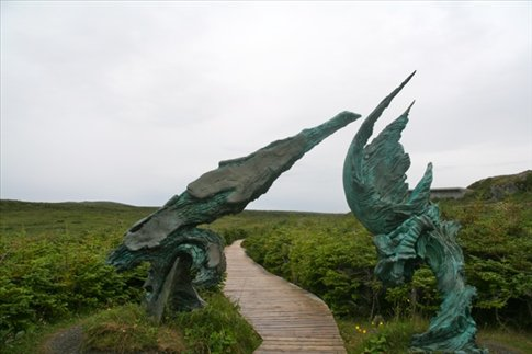 Sculpture at L'Anse aux Meadows UNESCO Cultural Site