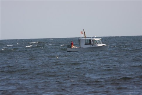 Lobster boat at work, Maine