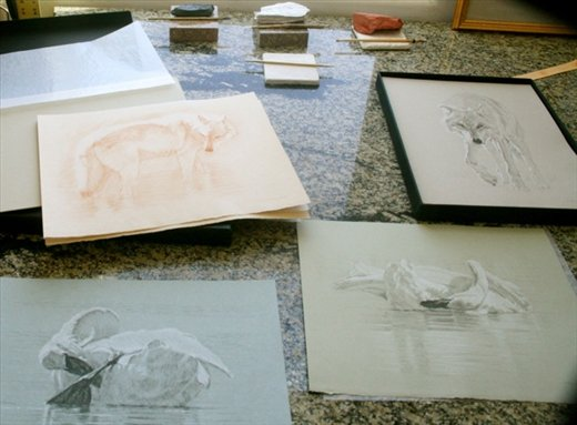 Tim's sketches in old medium, Tim Mayhew studio, Farmington, NM