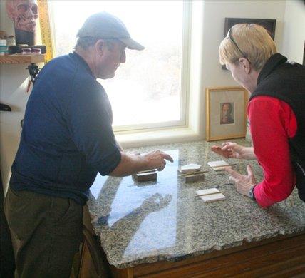 Showing Connie the forgotten chalk, Tim Mayhew studio, Farmington, NM