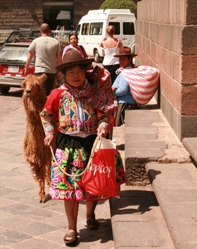 Andean woman and llama, Cusco