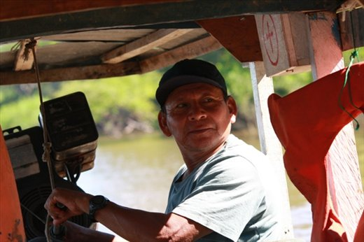Miguel at the helm, Yarinacocha
