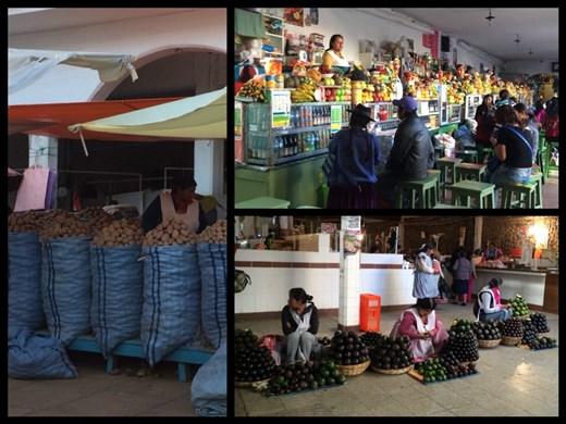 Chaque ville à son mercado central, marché de fruits et de légumes et de viande et de pain et de tout en fait. Tout est bien organisé par spécialité, jus de fruits frais, pommes de terre, avocats, etc.