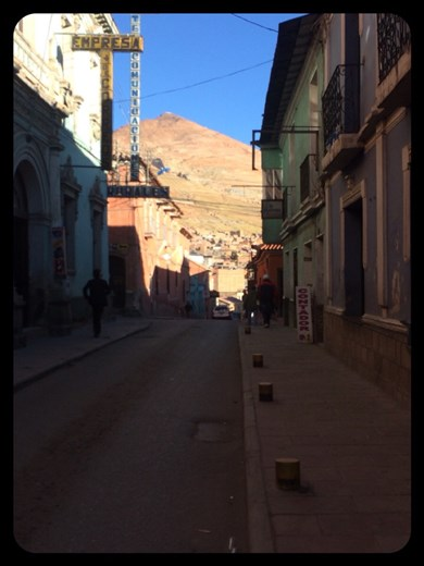 Nice view of the Cerro Rico (Rich Mountain, the mountain where the mines are) from in town in Potosi.
