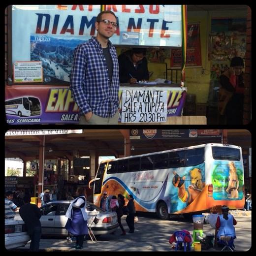 Station de bus à Tarija. Certaines compagnies de bus ont beaucoup de goût! ;-) Mdr