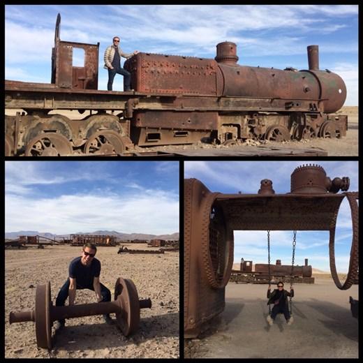 Cimetière de trains. Ces trains servaient à transporter le minerai de zinc et étain et argent de Uyuni à d'autres villes de la Bolivie. Quand les minerais étaient épuisés, ils n'avaient plus besoin des trains du coup ils les ont laissés là au milieu du désert.