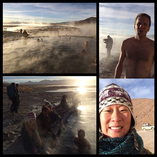 Kurt a été très courageux de braver le froid glacial -10 degrésC à 7h du matin pour se tremper dans les eaux thermales naturelles. Moi je n'ai pas pu, tout habillée je me les gelais déjà trop alors juste l'idée de devoir se changer au froid dehors c'était même pas possible.  Mais il faisait 25 degrés C dans l'eau, et selon Kurt c'était fabulous!