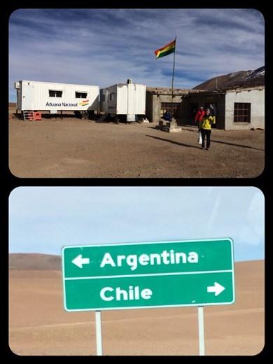 Frontière Bolivie-Chili. Direction San Pedro de Atacama. Bye bye Bolivie! C'est triste de quitter la Bolivie car on s'y est habitué mais c'est aussi chouette de découvrir un nouveau pays.