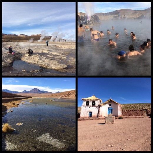 Tatio geysers near San Pedro de Atacama. Had to wake up at 4:30 for this excursion!?! But the thermal bath was actually chilly. :-( Not fun for Kurt.