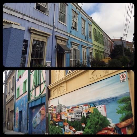 Maisons colorées avec beaucoup de  peintures murales