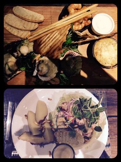 Miam! Cecviche, noix de St Jacques, crabe, et crevettes. Délicieux et frais! Avec bien sûr, une bouteille du vin chilien. C'était notre 6eme anniversaire de mariage quand même