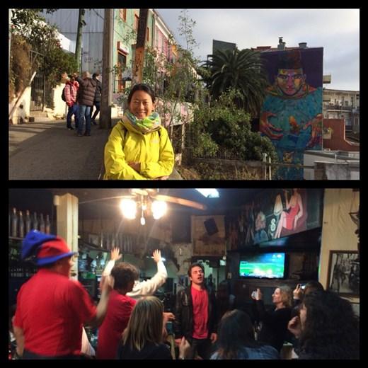 Photo en haut, une rue typique de Valpo avec en plus un peinture murale. En bas, la finale de la copa America. Qui a gagné? Chile-Chile-Chile! On a entendu leurs cris jusqu'à 5h du mat.