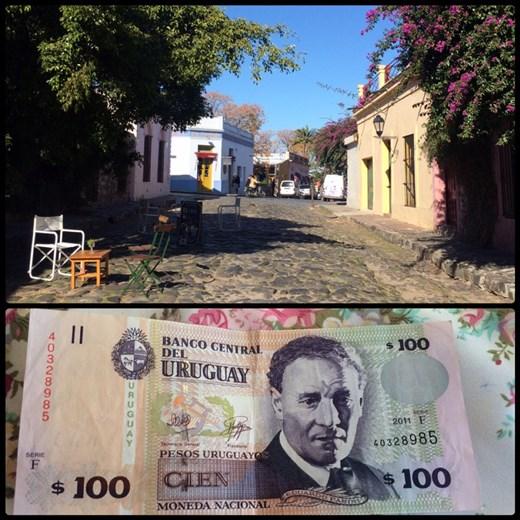 Rue typique du centre historique de Colonia. Billet d'Uruguay. J'ai oublié de prendre en photo la monnaie du Pérou, Bolivie et Chili; tout comme les plaques d'immatriculation des voitures. Je vais essayer de ne pas oublier.