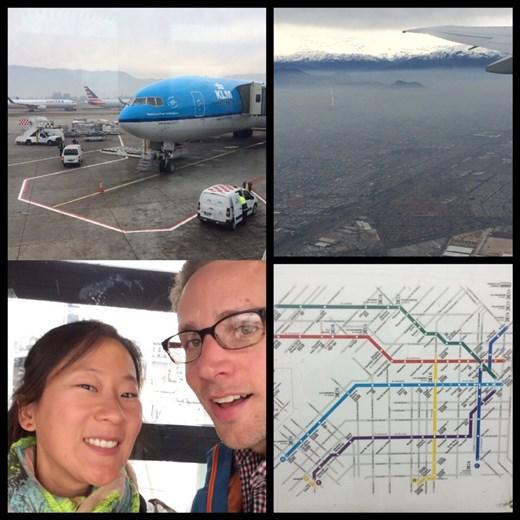 On était dans un gros avion de Santiago à Buenos Aires car sa destination finale était Amsterdam. Vue des Andes chiliennes depuis l'avion. Carte du métro de Buenos Aires.