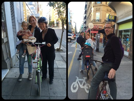 Biking the streets of Buenos Aires with Laura, Ariel and tiny happy Helena.