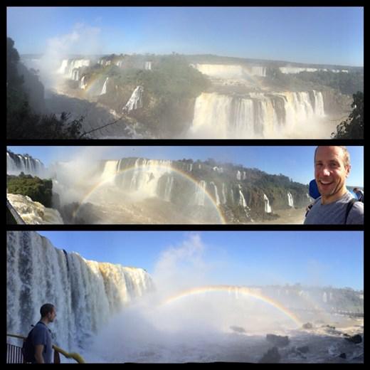 Chutes du côté brésilien au niveau de la Gorge du Diable. Beaucoup plus impressionnant que du côté argentin; on est quasi encerclé de cascades. On en sort tout trempé.