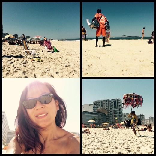Watching life around me while on the beach of Ipanema!
