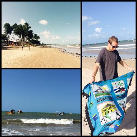 Kurt's new pareo. People in Brazil don't bring their towel to the beach but instead they bring their pareo; because it's so hot that you dry very quickly.