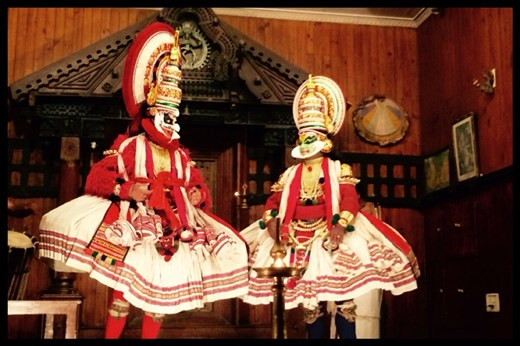 Kathakali (Malayalam: കഥകളി, kathakaḷi; Sanskrit: कथकळिः, kathākaḷiḥ) is a stylized classical Indian dance-drama noted for the attractive make-up of characters, elaborate costumes, detailed gestures and well-defined body movements presented in tune with the anchor playback music and complementary percussion.